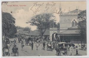 71004 AK Colombo - Pettah Market, Straßenansicht mit regem Handelstreiben 1906