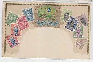 69793 Wappen Ak Brasilien Brazil mit Briefmarken um 1900