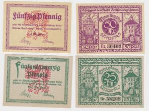 25 & 50 Pfennig Banknoten Notgeld Stadt Greifenberg 7.11.1919 (122472)