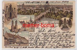 82785 Ak Lithografie Gruss aus München Marienplatz, Frauenkirche usw. 1898