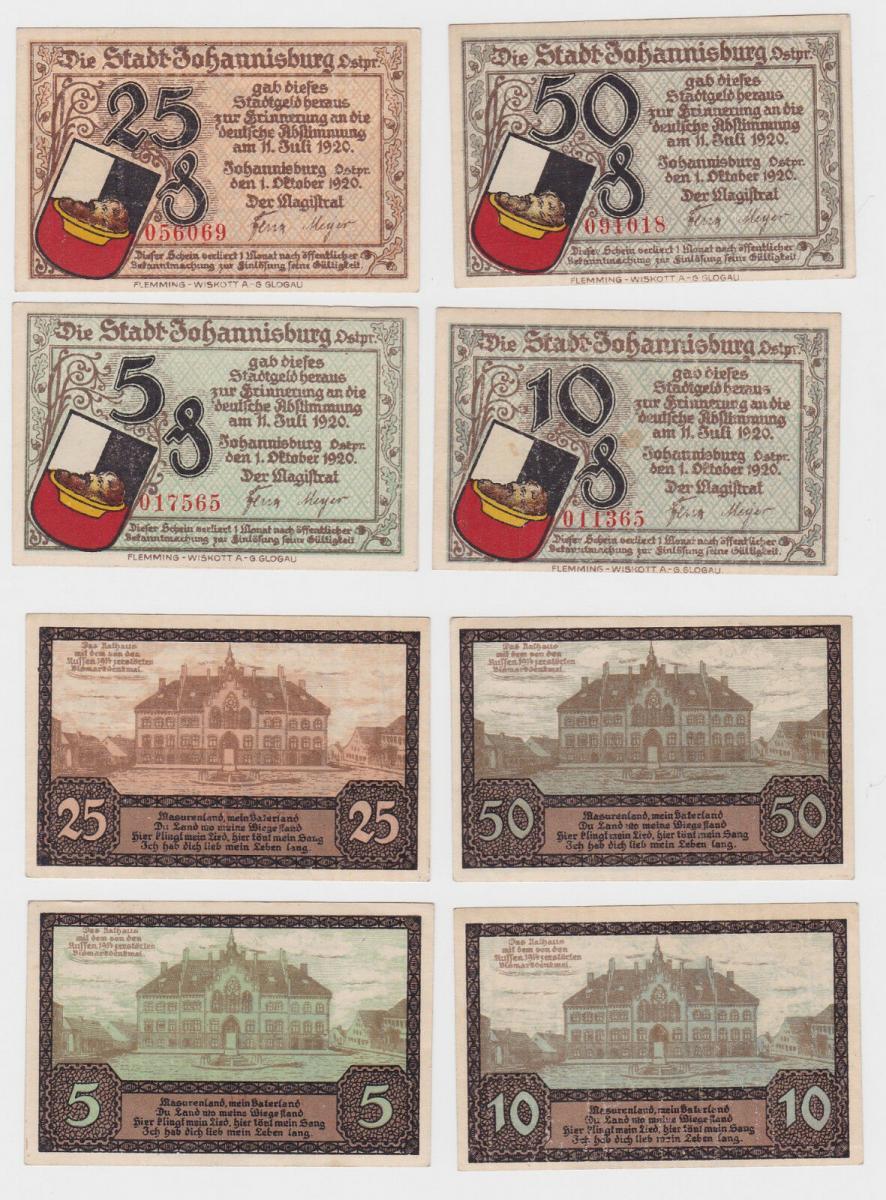 4 Banknoten Notgeld Stadt Johannisburg in Ostpreussen 1.10.1921 (121473) 0