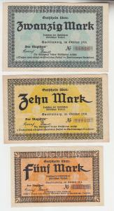 3 Banknoten Notgeld Stadt Quedlinburg 1918 (113525)