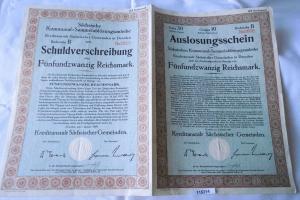 25 Reichsmark Schuldverschreibung Kreditanstalt Sächs.Gemeinde Dresden 2.1.1929