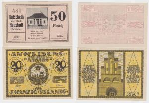 20 & 50 Pfennig Banknoten Notgeld Neustadt in Holstein um 1920 (122367)
