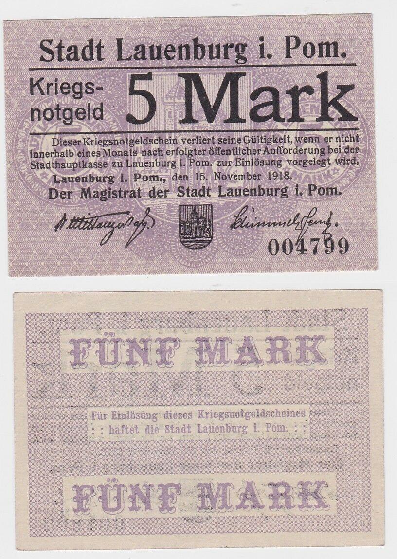 5 Mark Banknote Notgeld Stadt Lauenburg in Pommern 15.11.1918 (121770) 0
