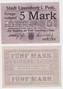 5 Mark Banknote Notgeld Stadt Lauenburg in Pommern 15.11.1918 (121770)