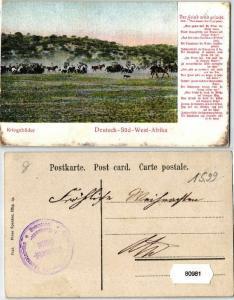 80981 Feldpost Ak Deutsch Süd West Afrika Kriegsbilder um 1907