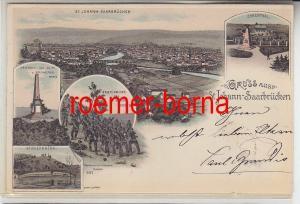 78947 Ak Lithographie Gruss aus St.Johann Saarbrücken 1898