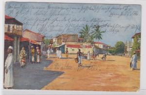 81594 AK Händlerstraße in Daressalam mit Bewohnern des Ortes 1912