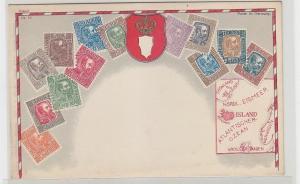 68356 Wappen Ak Island mit Briefmarken um 1900