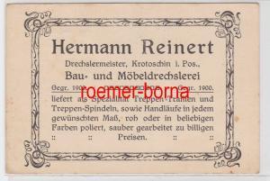 83463 Reklame Postkarte Drechslermeister Herman Reinert Krotoschin Pos. um 1900