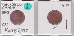 3 Pfennig Kupfer Münze Mecklenburg-Strelitz 18.. (120888)