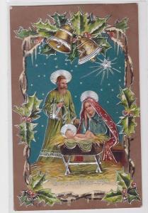 85811 Fröhliche Weihnachten Präge Ak Krippenmotiv 1909