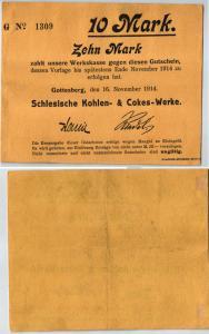 10 Mark Banknote Gotteberg Schlesische Kohlen- & Cokes Werke 16.11.1914 (120358)