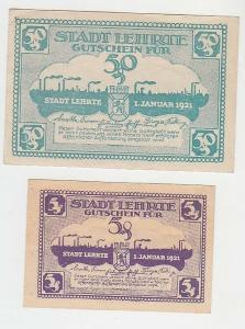 5 und 50 Pfennige Banknoten Notgeld Stadt Lehrte 1921 (110473)