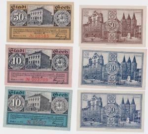 2 x 10 & 50 Pfennig Banknoten Notgeld Stadt Goch 1.1.1921 (121176)