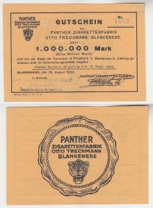 1 Million Mark Banknote Panther Zigarettenfabrik Blankenese 1923 gelb (114529)