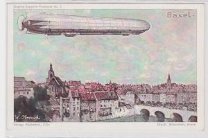 86792 Original Zeppelin Postkarte Nr.2 Zeppelin über Basel um 1920