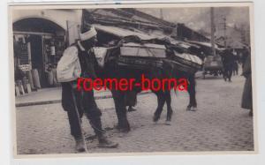 85345 Foto Ak Sarajevo Holzhändler mit Esel um 1920