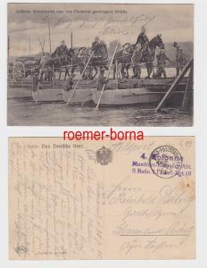 80464 Feldpost Ak Artillerie überschreitet eine von Pionieren geschlagene Brücke