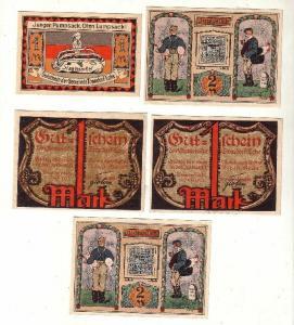 5 Banknoten Notgeld Gemeinde Tonndorf Lohe 1921 (116404)
