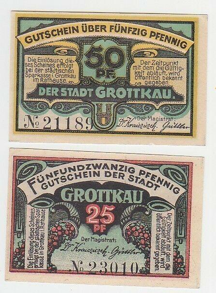 25 und 50 Pfennige Notgeld Stadt Grottkau um 1920 (110830) 0