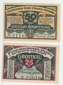 25 und 50 Pfennige Notgeld Stadt Grottkau um 1920 (110830)