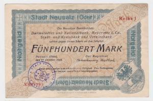 500 Mark Banknote Notgeld Stadt Neusalz (Oder) 27.10.1922 (122300)