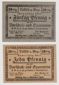 10 Pf/50 Pfennig Banknoten 1917 Lutter Vorschuß-& Sparverein E.G.m.u.H. (120598)