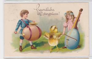 90826 Fröhliche Ostern Ak Kinder und Küken musizieren mit Ostereiern 1917