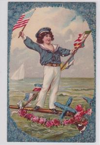 72928 Ak Marine Kind in Matrosenkleidung und mit Fahne in der Hand 1911