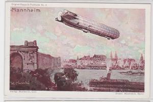 73664 Original Zeppelin Postkarte Nr.4 Zeppelin über Mannheim um 1920