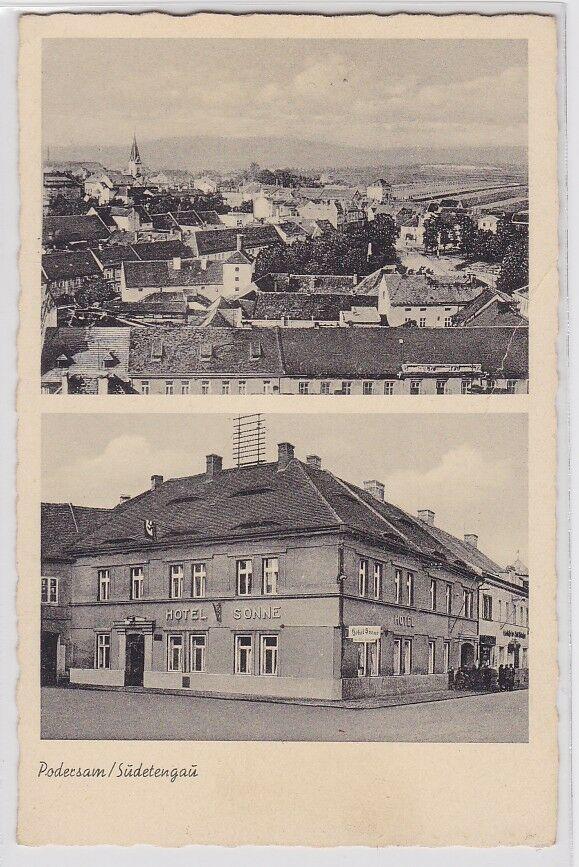 90876 AK Podersam / Sudetengau - Hotel Sonne, Inhaber Josef Husak um 1930 0