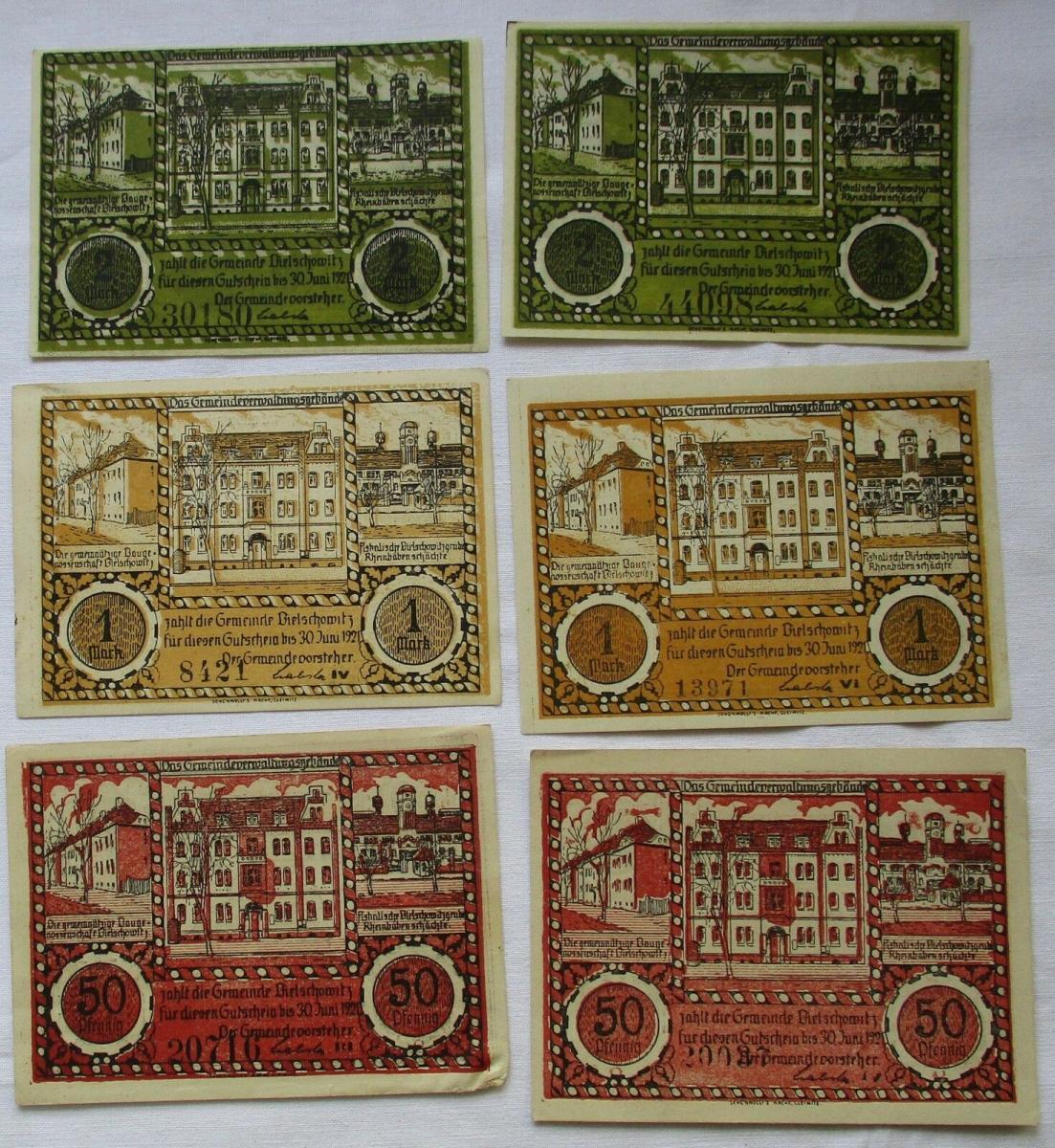 6 Banknoten Notgeld Gemeinde Bielschowitz 30.06.1921 (1 Mark Reihe VI) (124601) 0