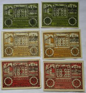 6 Banknoten Notgeld Gemeinde Bielschowitz 30.06.1921 (1 Mark Reihe VI) (124601)