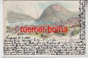 73954 Ak Lithographie Saluto da Lugano Schweiz 1901