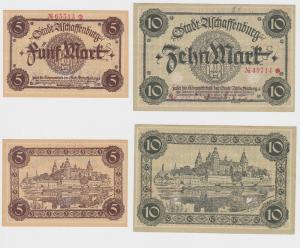 5 & 10 Mark Banknote Notgeld Stadt Aschaffenburg ohne Datum (120444)