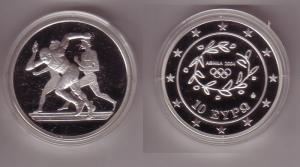 10 Euro Silber Münze Griechenland Olympiade Läufer 2004 PP (106796)