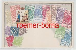 73801 Briefmarken Präge Ak Briefmarken von South Australia Südaustralien um 1910