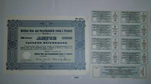 1000 RM Aktie Meißner Ofen- und Porzellanfabrik (vorm.C.Teichert) 1934 (130997)