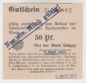 50 Pfennig Lebensmittel Gutschein Stadt Leipzig 1.April 1919 (120847)