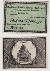 50 Pfennig Banknote Notgeld Bankhaus Johann Janssen Westerland 1.4.1918 (120535)