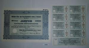 1000 RM Aktie Meißner Ofen- und Porzellanfabrik (vorm.C.Teichert) 1934 (132207)