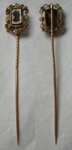 Hochwertige Anstecknadel 585er Gold Gemme Kamee Römerkopf in Edelstein (119052)