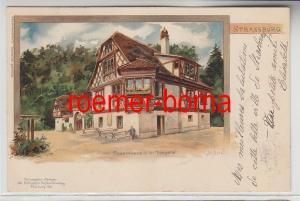 73717 Ak Lithographie Strassburg Bauernhaus in der Orangerie 1900