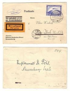 55722 Karte Luftschiff LZ 127 befördert nach New York 2 Reichsmark Zeppelin 1928