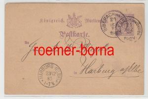 82439 Ganzsachen Postkarte Königrich Württemberg Harburg (Elbe) 1885