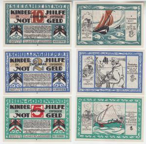 2, 5, 10 Mark Banknoten Notgeld Hamburg Erholungsstätten Gesellschaft (116235)
