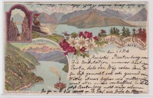 80692 Lithografie AK Gruß aus dem Berner Oberland - Thuner See & Bahn 1896