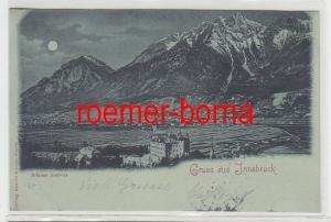 55058 Mondscheinkarte Gruss aus Innsbruck Schloss Ambras 1898